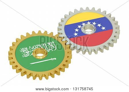 Venezuela and Saudi Arabia flags on a gears 3D rendering isolated on white background