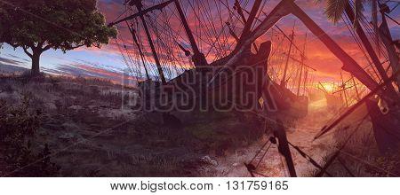 3D illustration , pirate , ship , sunshine