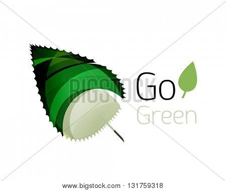 Leaf abstract icon made of waves. Vector illustration