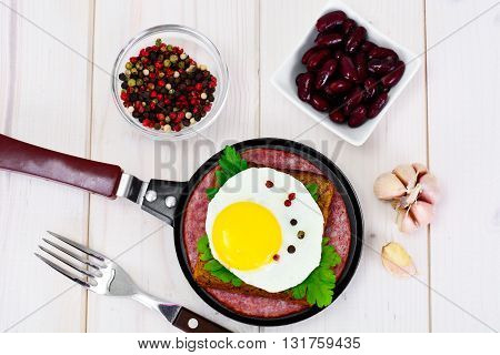Fried Egg with Red Beans Studio Photo