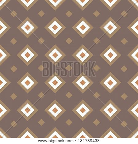 Geometric seamless pattern with rhombuses. Colored rhombuses on brown background. Vector illustration in EPS8 format pattern swatch included.