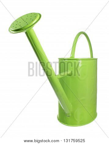Green Watering Can on Isolated White Background