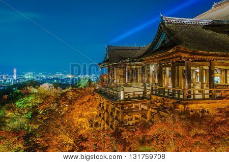 light up laser show at Beautiful Architecture in Kiyomizu-dera Temple Kyoto, Japan