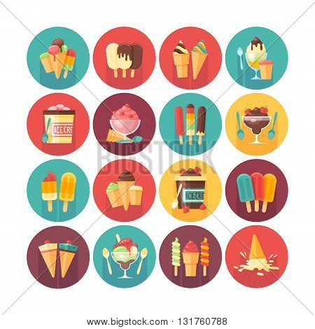 Ice cream and frozen desserts and sweets icon collection. Flat vector circle icons set with long shadow. Food and drinks.