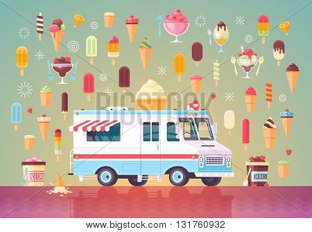Flat vector ice cream icons and ice cream truck. Colorful premium concept illustration.