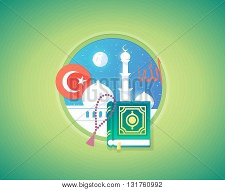 Arabian muslim culture and language concept design vector illustration. Flat modern style.