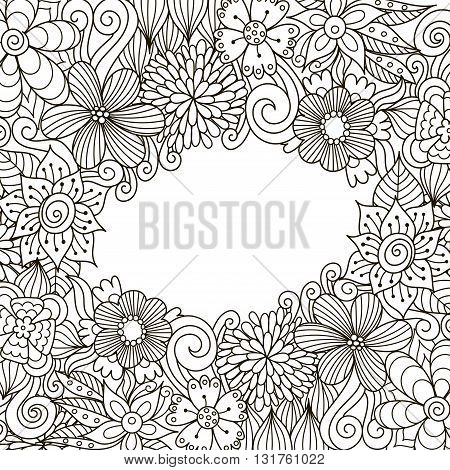 Floral zentangle decorative frame for coloring book, packaging, flyers and brochures design. Black and white vector illustration