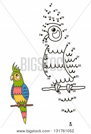 Connect the dots to draw the cute parrot and color it. Educational numbers and coloring game for children. Vector illustration