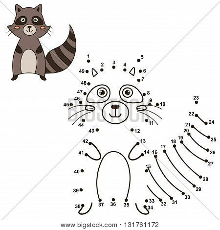 Connect the dots to draw the cute raccoon and color it. Educational numbers and coloring game for children. Vector illustration