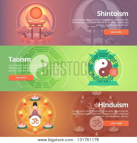 Shintoism. Japanese religion. Taoism. Hinduism. Buddhistic culture. Tao principles. Religion and confessions banners set. Vector design concept.