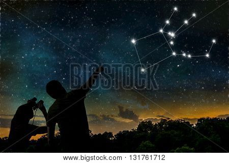 Pegasus Constellation On Night Sky. Astrology Concept. Silhouett