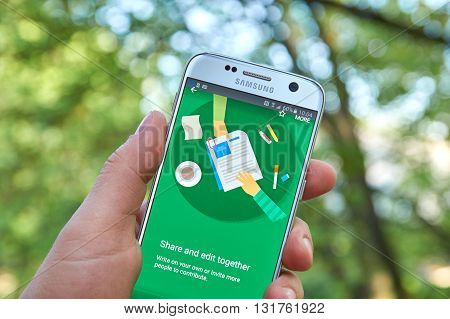 MONTREAL CANADA - MAY 23 2016 : Google Docs application on Samsung S7 screen. Google Docs is a free Web-based application in which documents and spreadsheets can be created edited and stored online
