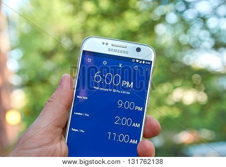 MONTREAL CANADA - MAY 23 2016 : Google Clock android application on Samsung S7 screen.