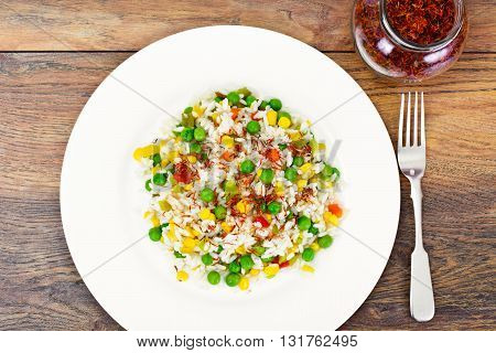 Rice with Corn, Peas, Peppers and Saffron Studio Photo