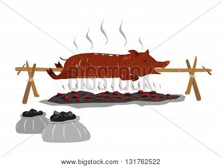 Lechon or Suckling Pig on a rotating stick or pole is Roasted over a burning charcoal. Editable Clip art.