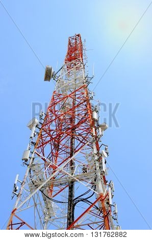 Telecommunication tower with the blue sky view