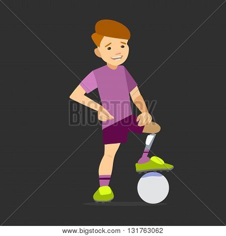 Paralympic athlete child on the prosthesis with a soccer ball. Vector illustration flat design.