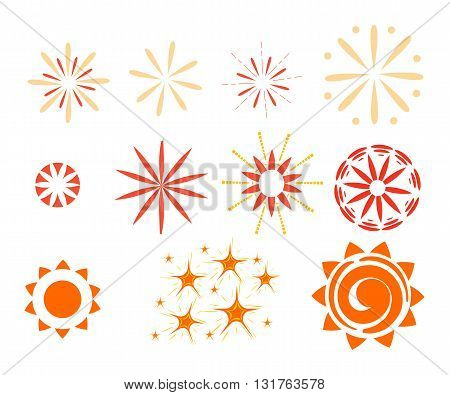 Effect isolated on white background. Sparkles, starbursts and fireworks