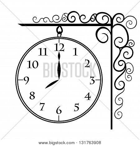 Vector vintage clocks Black wall clock vector isolated.