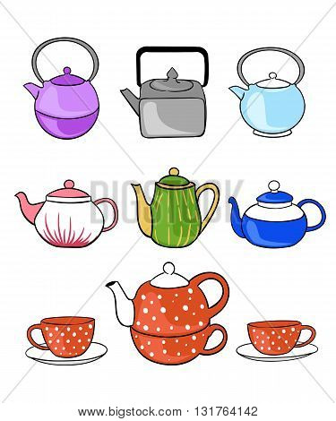 Tea collection. Hand draw vector illustration. Tea time. tea, cup, teapot line icon, icons