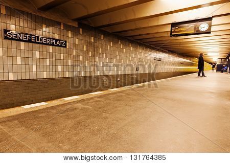 Berlin Germany - May 16 2016: Metro station in Berlin with unidentified people. The metro in Berlin opened 1902 and has today 173 stations and a length of 146 km