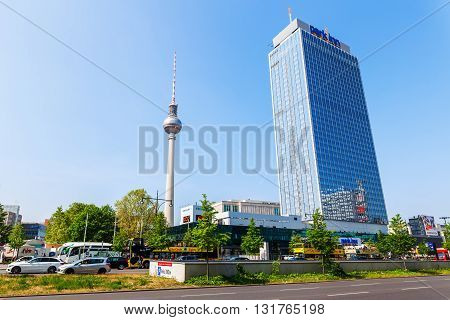 Berlin Germany - May 18 2016: TV Tower with unidentified people. It was constructed in the 60ies by the administration of the GDR with 368 m it is the tallest structure of Germany and 2nd of the EU