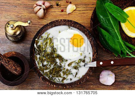Sorrel Soup with White Egg Studio Photo
