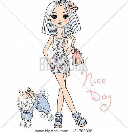 Cute beautiful girl in dress with dog. T-shirt Graphics. Girl print.