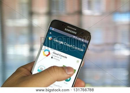MONTREAL CANADA - MAY 23 2016 : Google Cloud Console app on Samsung S7 screen. The application enables to manage solutions running on the Google Cloud Platform directly from Android phone or tablet