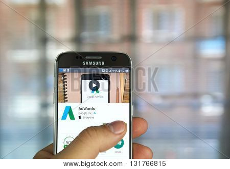 MONTREAL CANADA - MAY 23 2016 : Google AdWords app on Samsung S7 screen. AdWords is an advertising service by Google for businesses wanting to display ads on Google and its advertising network