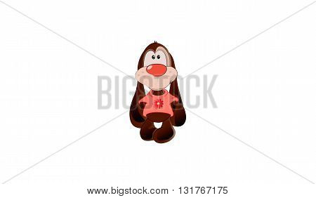 small brown cute fluffy cartoon puppy vector illustration
