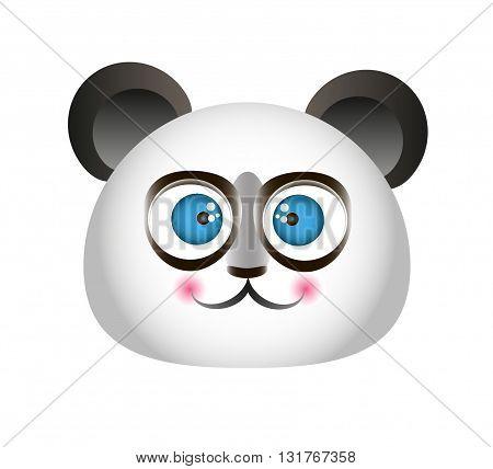cute cheerful cartoon white china Puaro panda head