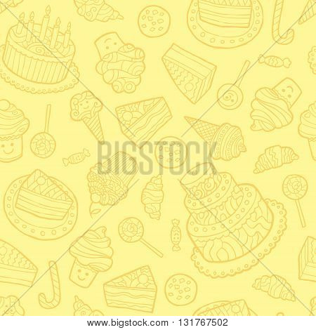 Seamless pattern with sweets on a yellow background. Vector illustration.
