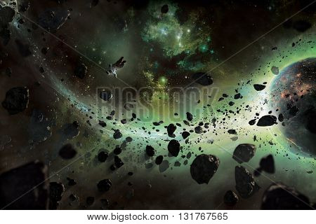 3D illustration, astronaut in space , galaxy