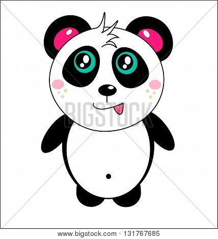 small fun cute color cheerful cartoon panda vector