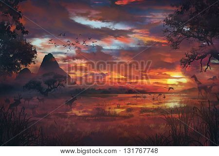 3D illustration, Savanna, animales in wild, sunshine