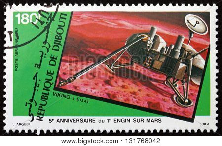 DJIBOUTI - CIRCA 1982: a stamp printed in the Djibouti shows Viking I Mars Landing 5th Anniversary circa 1982