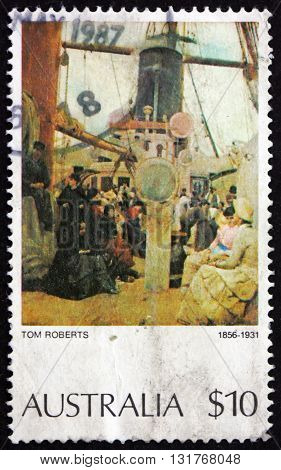 AUSTRALIA - CIRCA 1977: a stamp printed in Australia shows Coming South (Immigrants) Painting by Tom Roberts circa 1977