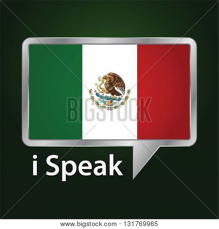 Vector stock of Mexico flag inside speech bubble Speaking Mexican language