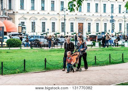 Family Walk In St.petersburg