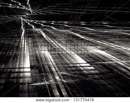 Abstract technology background - computer-generated image. Black and white pattern with rectangular grid, perspective and glass surface. Tech background like street in futuristic city