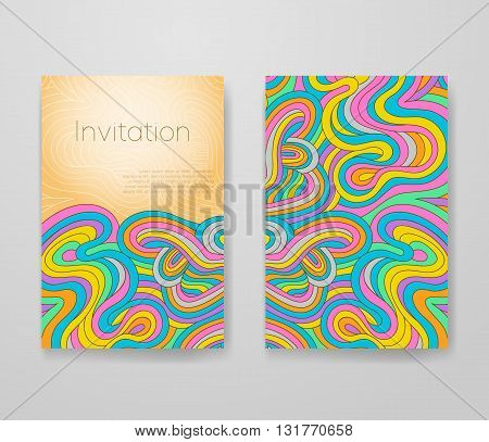Business card with vivid lines pattern. Psychedelic vector frame template invitation with place for your text. Flyer layout