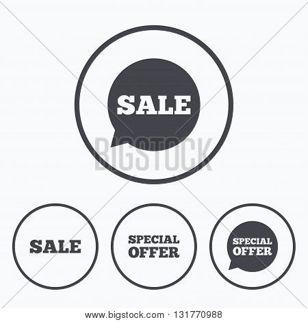 Sale icons. Special offer speech bubbles symbols. Shopping signs. Icons in circles.