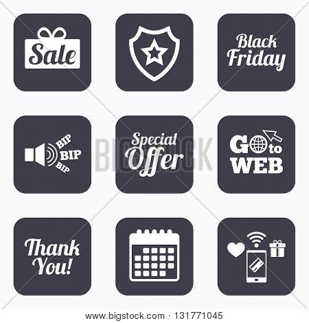 Mobile payments, wifi and calendar icons. Sale icons. Special offer and thank you symbols. Gift box sign. Go to web symbol.