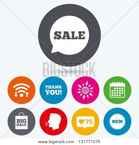 Wifi, like counter and calendar icons. Sale speech bubble icon. Thank you symbol. New star circle sign. Big sale shopping bag. Human talk, go to web.