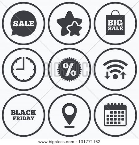 Clock, wifi and stars icons. Sale speech bubble icon. Discount star symbol. Black friday sign. Big sale shopping bag. Calendar symbol.
