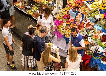 SAO PAULO, BRAZIL - CIRCA JAN 2015: Municipal Market in Sao Paulo, Brazil