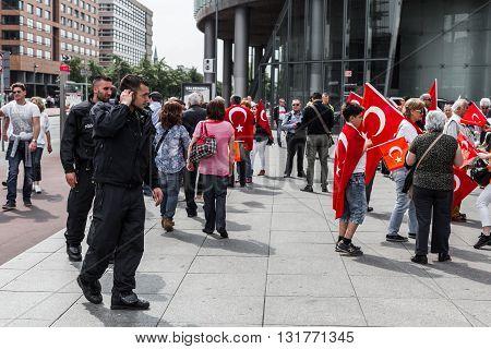 Berlin, Germany - May 28, 2016: Turkish groups protest vote on Armenian genocide resolution. On Potsdamer platz