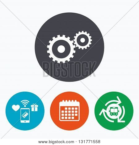 Cog settings sign icon. Cogwheel gear mechanism symbol. Mobile payments, calendar and wifi icons. Bus shuttle.