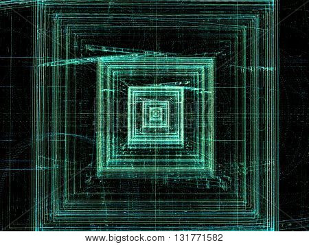 Abstract technology background -  computer-generated green image. Fractal pattern - chaos lines like square tunnel, well or chip. Digital art for covers, posters, web design.